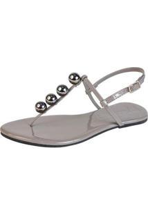Rasteira Mercedita Shoes Verniz Fivela Feminina - Feminino-Chumbo