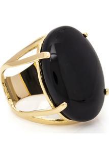 Anel Banhado A Ouro Oval Onix - Feminino-Preto