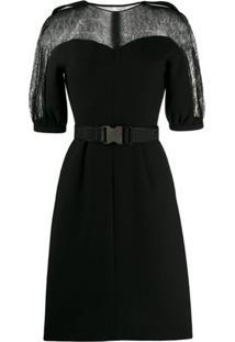 Fendi Vestido Mangas Curtas Com Cinto - Preto