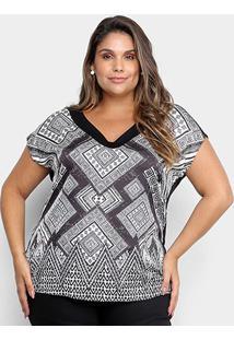 Blusa Cativa Mais Estampada Plus Size Feminina - Feminino-Preto