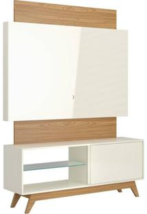 Rack Com Painel Munique 1,40 Mt Cor Off White Com Freijo - 51601 - Sun House