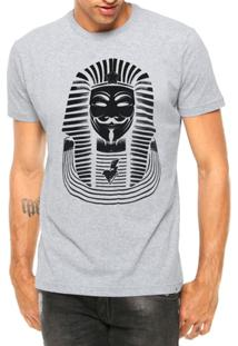 Camiseta Criativa Urbana Nerd Geek Anonymous Faraó Manga Curta - Masculino-Cinza