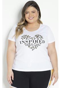 Blusa Branca Com Estampa Com Brilho Plus Size