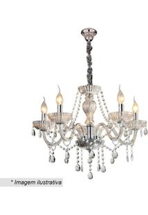 Lustre Candelabro Com Ornamentos- Cristal- 47Xø60Cm