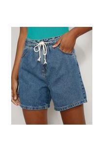 Bermuda Jeans Feminina Cintura Alta Com Cinto Cordão Azul Médio