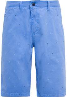 Bermuda Masculina Chino Bordada - Azul