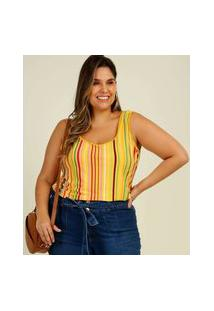 Blusa Plus Size Feminina Estampa Listrada Alças Largas