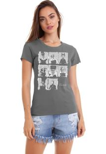 Camiseta Feminina Joss Estonada Estampada Vilões Chumbo