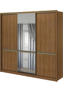 Guarda-Roupa Urban Com Espelho Central - 3 Portas - 100% Mdf - Rovere Naturale Ou Rovere Naturale Com Offwhite