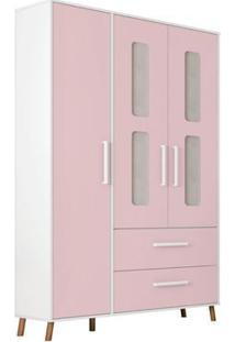 Guarda Roupa Infantil Retrô Bibi 3 Portas Branco E Rosa Móveis Estrela