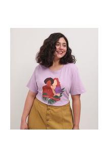 Blusa Em Algodão Estampa Juntas Somos Mais Curve & Plus Size | Ashua Curve E Plus Size | Roxo | Gg