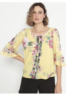 Blusa Acetinada Com Recortes- Amarela & Rosa- Cottoncotton Colors Extra