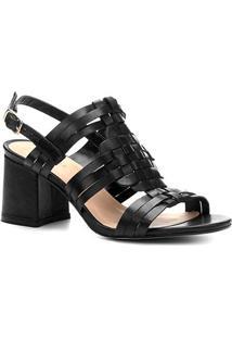 Sandália Couro Shoestock Salto Bloco Tramado - Feminino