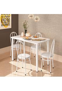 Conjunto De Mesa De Cozinha Com 4 Lugares Roma Branco