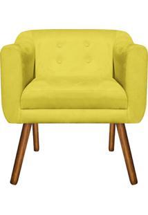 Poltrona Decorativa Julia Suede Amarelo - D'Rossi