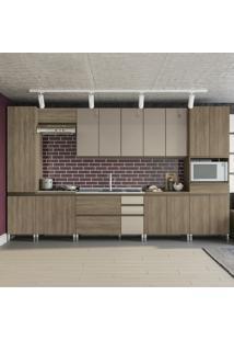 Cozinha Completa Maxxi 16 Portas 4 Gavetas Cb468 Nogal - Kappesberg