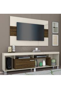 Rack Com Painel Para Tv 1 Porta Tomaz 702122 Off White/Savana - Madetec