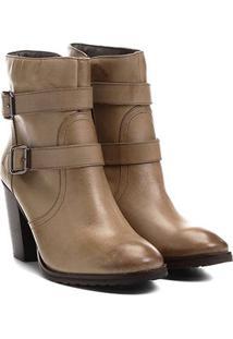 Bota Couro Cano Curto Shoestock Fivelas - Feminino-Marrom Claro