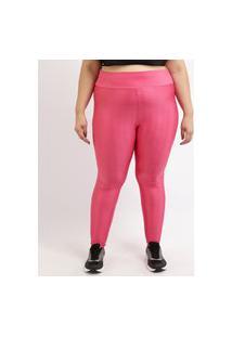 Calça Legging Feminina Plus Size Esportiva Ace Texturizada Cintura Alta Pink