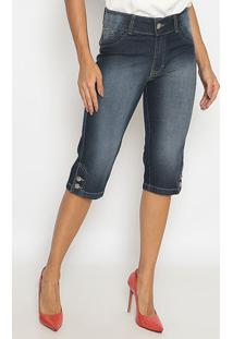 Bermuda Jeans Estonada Com Botões- Azul Escuro- Sisasisal
