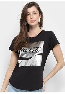 Camiseta Coca Cola Enjoy Manga Curta Feminina - Feminino-Preto