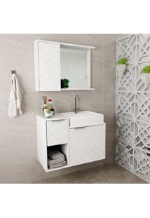 Conjunto De Gabinete Para Banheiro Com Cuba E Espelheira Roma-Arteban. - Branco