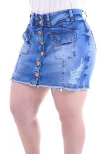 Short Saia Plus Size Botãµes: Azul Jeans: 48 - Azul - Feminino - Dafiti