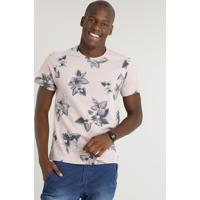 b68cfa12afc96 Camiseta Masculina Slim Fit Estampada Floral Manga Curta Gola Careca Rosê