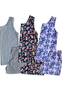 Kit 3 Pijamas Regatas Plus Size Feminino Sortido
