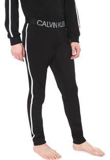 Calça Moletom Calvin Klein Underwear Jogger Lettering Preta