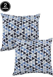 Kit 2 Capas De Almofadas Próxima 43X43 Summer Triangulo Azul E Summer Floral Liso Azul
