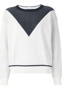 Armani Exchange Pullover De Tricô Bicolor - Branco