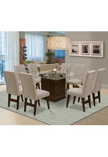 Mesa Para Sala De Jantar Saint Louis Com 8 Cadeiras – Dobuê Movelaria - Castanho / Areia