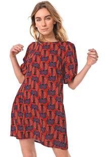 Vestido Linho Cantão Curto Paineiras Vermelho/Azul