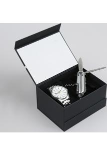 Kit De Relógio Analógico Orient Masculino + Canivete - Mbss1270 Ke04S2Sx Prateado - Único