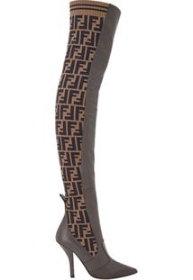 Fendi Bota Over The Knee 'Ff' - Marrom