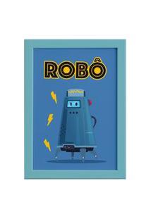 Quadro Infantil Robô Azul Moldura Azul 22X32Cm