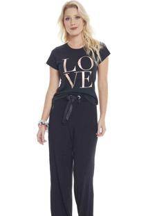 T-Shirt Camiseta Seven Days Love Foil Black Pre