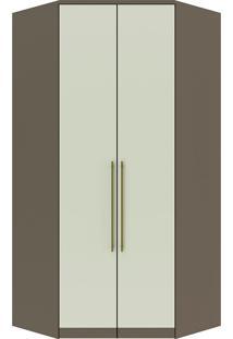 Guarda-Roupa De Canto Closet Com 2 Portas Diamante Ii M300-Henn - Damasco / Areia