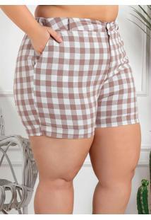 Shorts Plus Size Xadrez Bege Com Bolsos