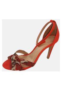 Sandália Salto Alto Vendrata Clássico Milão Vermelho