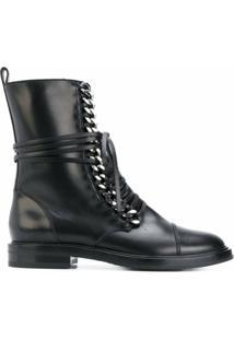 Casadei Ankle Boot 'City Rock' De Couro - Preto