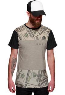 Camiseta Di Nuevo Dólares Americanos Dinheiro Estilo Thug Nine Preta