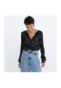 Camisa Manga Longa Em Viscose Estampa Constelação Lastex No Ombro E No Punho | Marfinno | Preto | Pp