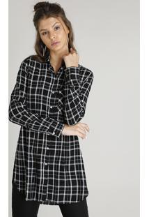 435923320 ... Camisa Feminina Longa Estampada Xadrez Com Bolso Manga Longa Preta