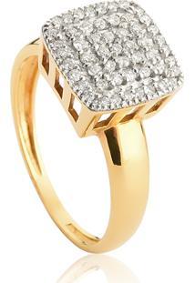 Anel De Ouro 18K Pavê Quadrado Com Diamantes Rodinados-Coleção Engaged