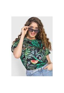 Camiseta Colcci Folhagem Preta/Verde