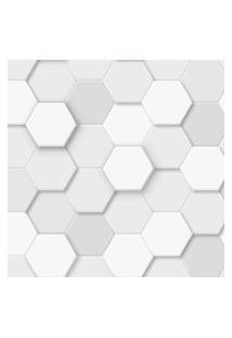 Papel De Parede Branco 3D Exágonos Geométrico 57X270Cm