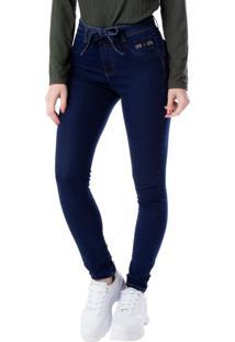 Calça Jeans Feminina Max Denim Com Cinto Azul Escuro - 36
