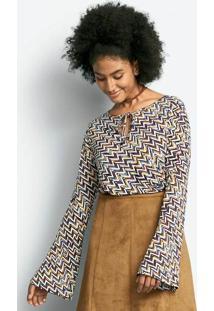 Blusa Feminina Em Malha De Viscose Com Amarração E Estampa